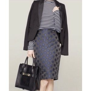 J Crew Jacquard Polka Dot Pencil Skirt Sz 6 Black